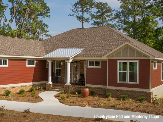 Red House With Beige Trim