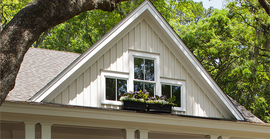 HardiePanel® Vertical Siding in Neutral Tones with a Bold Accent Color