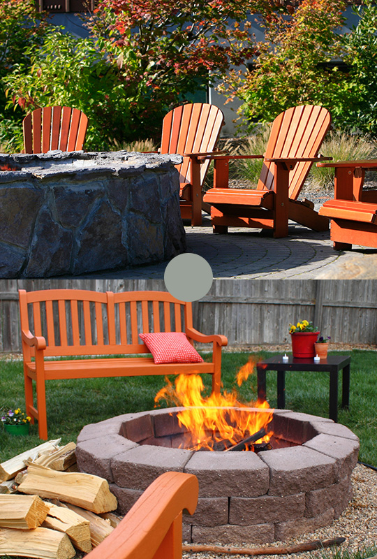 Backyard-Firepit-On-Concrete-Surface-With-Patio-furniture