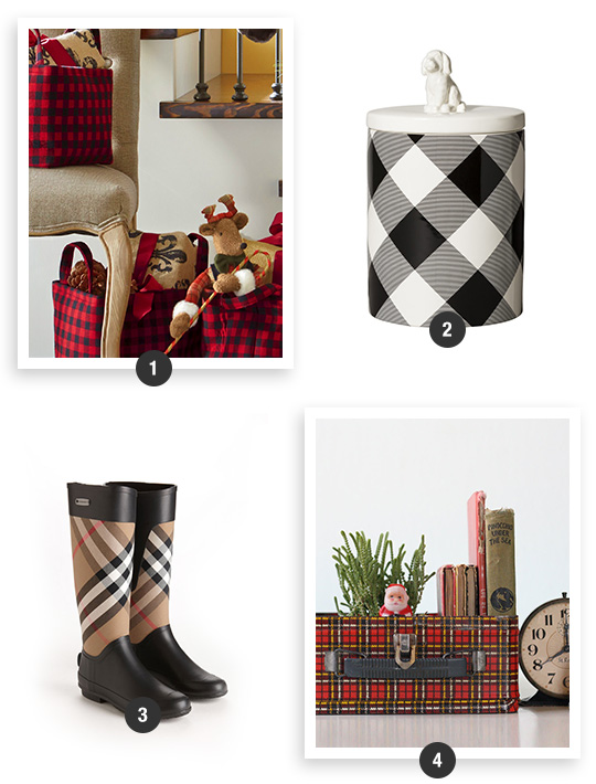 Buffalo-Plaid-Baskets-Rain-Boots-And-Vintage-Lunchbox-With-Ceramic-Pet-Treat-Canister