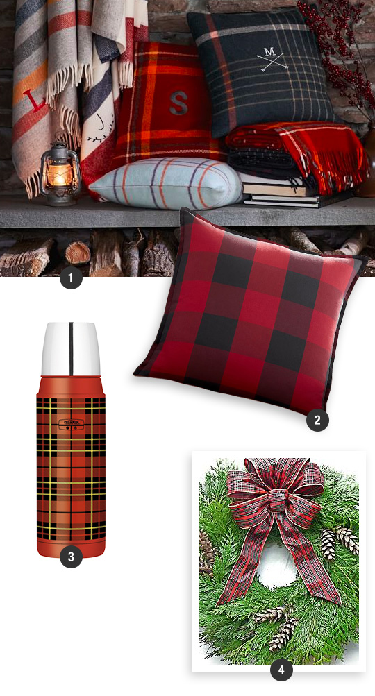 Plaid-Wool-Pillow-Cover-And-Blankets-With-Buffalo-Check-Plaid-Pillow-Cover-Plaid-Compact-Bottle-And-Cedar-Wreath-With-Plaid-Bow