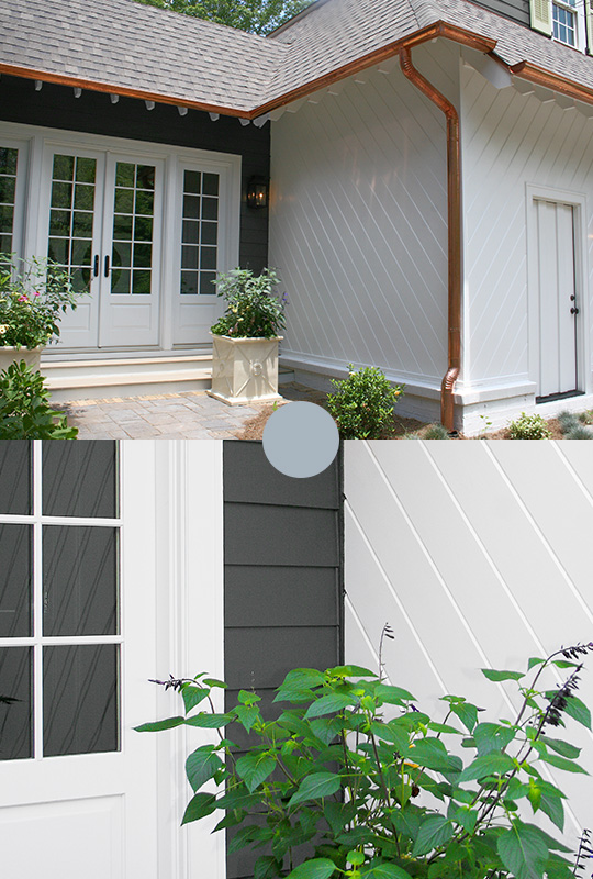 Iron-Gray-HardiePlank-Lap-And-Artic-White-Artisan-Lap-Siding-Back-Walkway-Entrance-Compared-With-Siding-Closeup